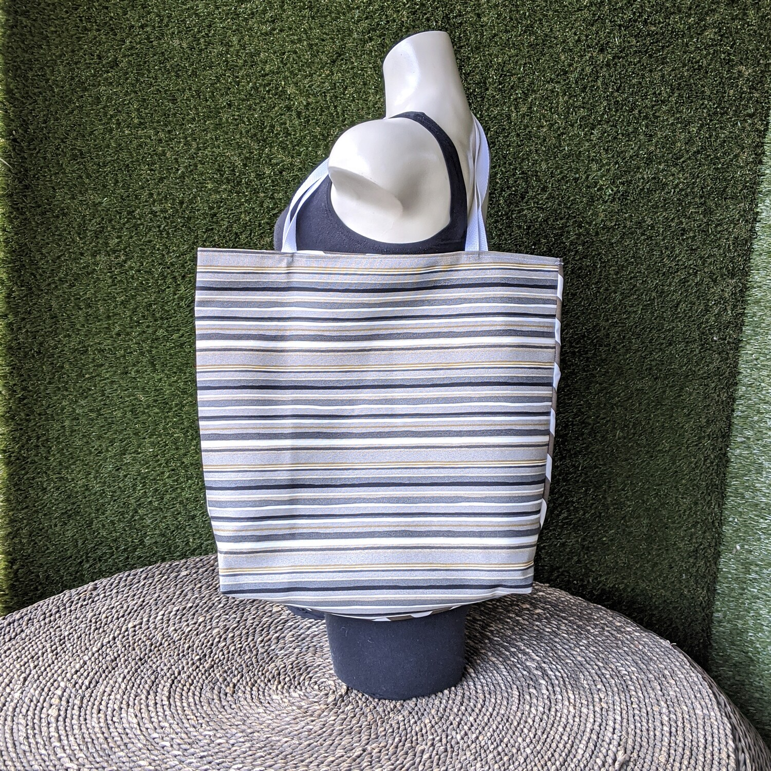 Gray Stripe Beach Tote