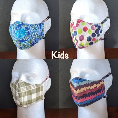 Pack of KIDS Cotton Face Masks, Unisex, Washable, Reusable, Double Layer for Smog, Pollen, Dust, Smoke. Colorful Designs. Made in USA
