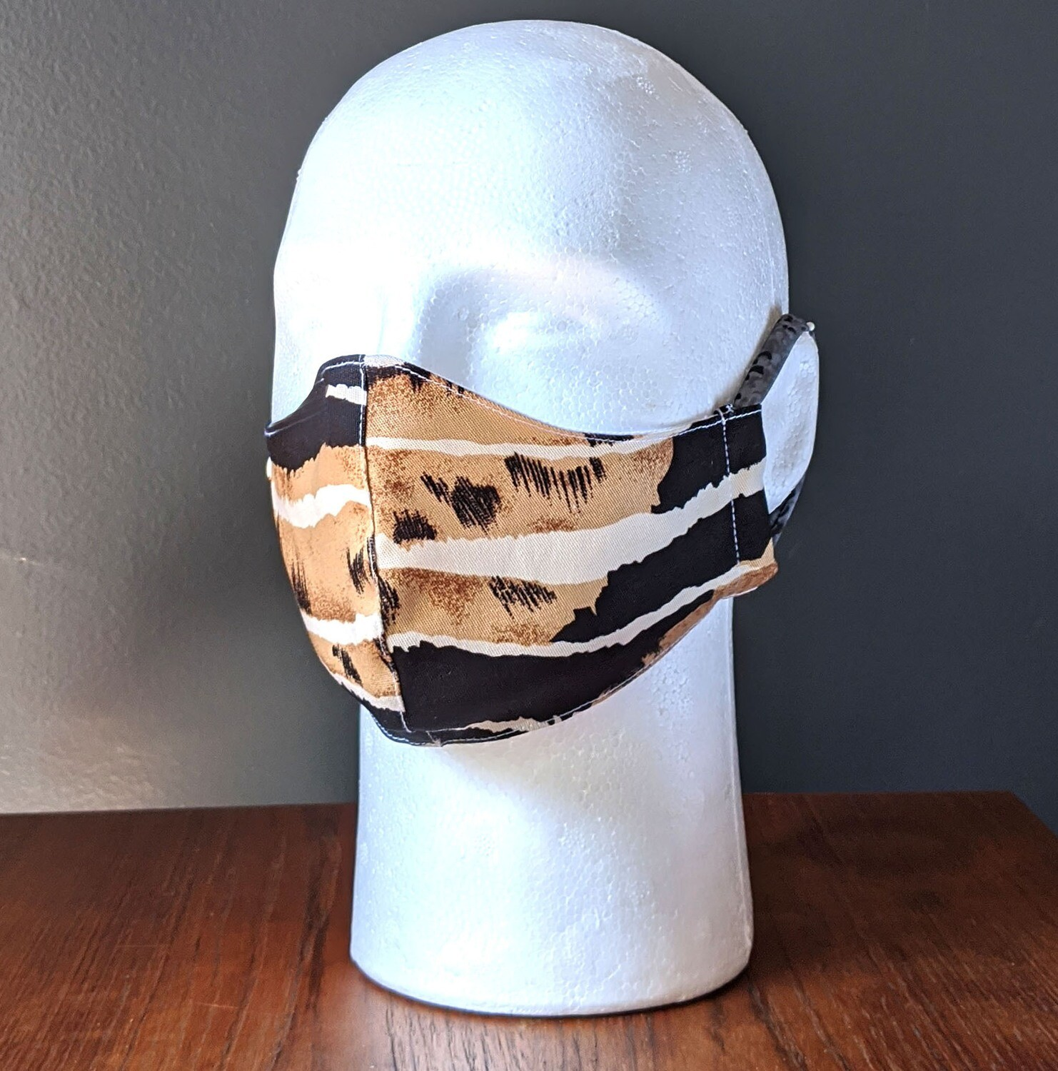 Safari Animal Print Face Masks, Small, Unisex, Washable, Reusable, Double Layer for Smog, Pollen, Dust, Smoke. Colorful Designs. Made in USA