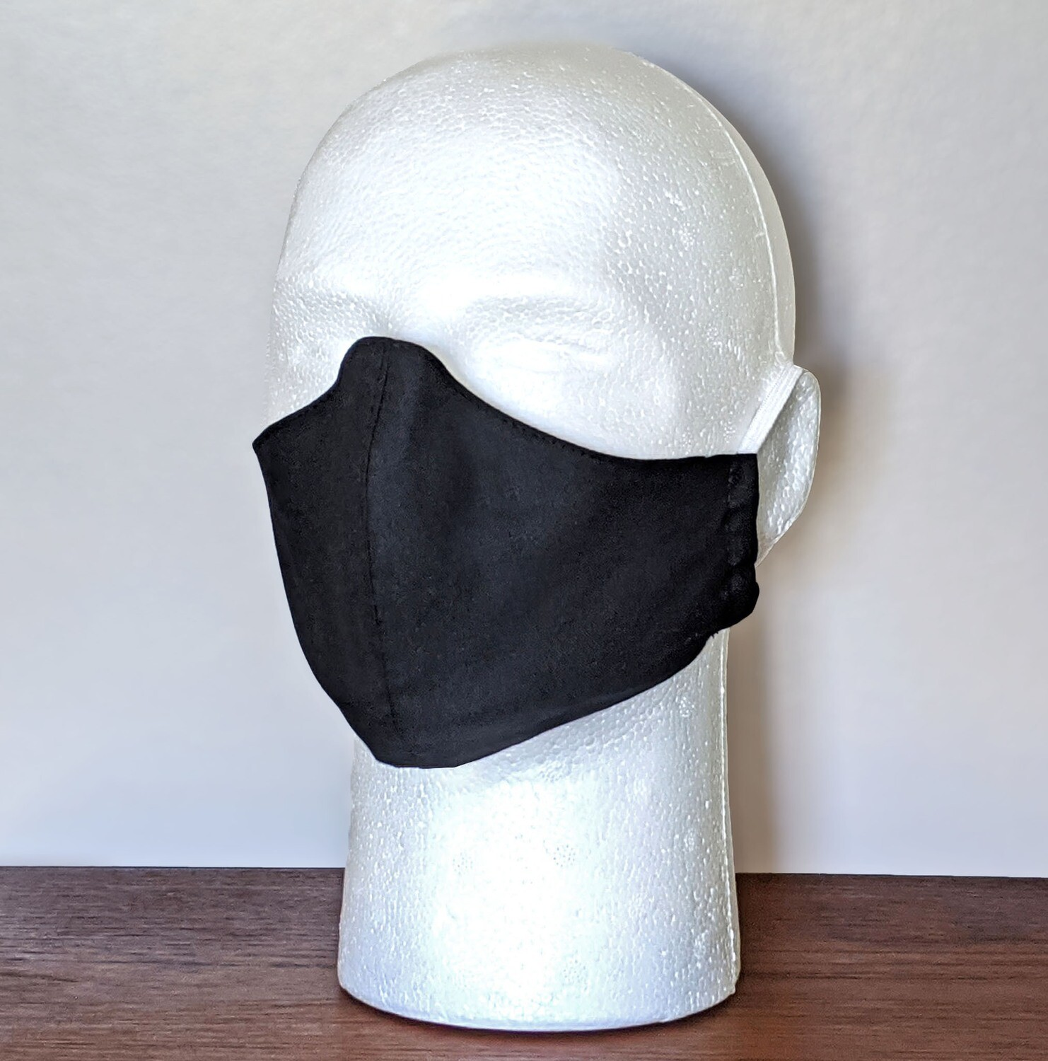 BASIC BLACK Face Masks, Unisex, Washable, Reusable, Double Layer for Smog, Pollen, Dust, Smoke. Made in USA