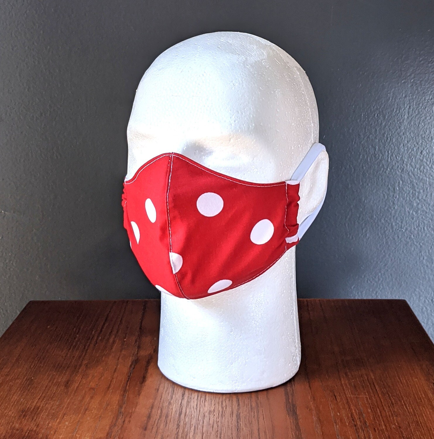 Red Polka Dot Face Masks, Cotton, Washable, Reusable, Double Layer for Smog, Pollen, Dust, Smoke. Made in USA