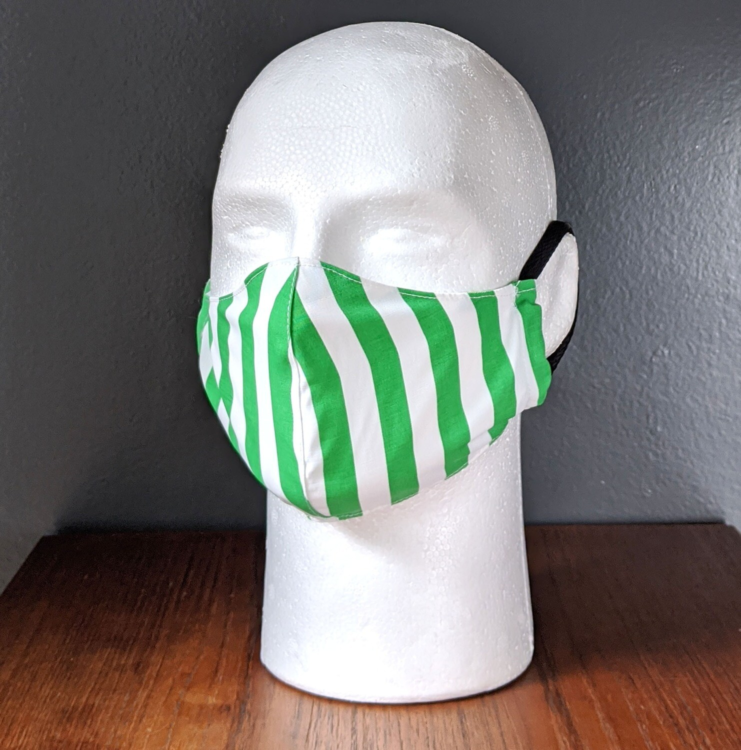 Peppermint Green Stripe Face Masks, Small, Unisex, Washable, Reusable, Double Layer for Smog, Pollen, Dust, Smoke. Made in USA