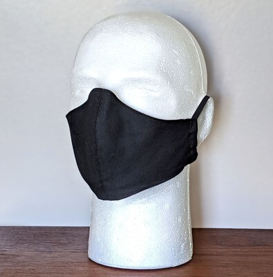 SMALL BASIC BLACK Face Masks, Unisex, Washable, Reusable, Double Layer for Smog, Pollen, Dust, Smoke. Made in USA