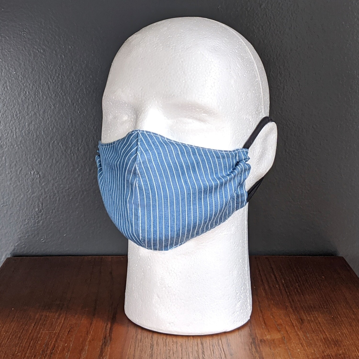 Blue Pinstripe Face Masks, Small, Unisex, Washable, Reusable, Double Layer for Smog, Pollen, Dust, Smoke. Made in USA