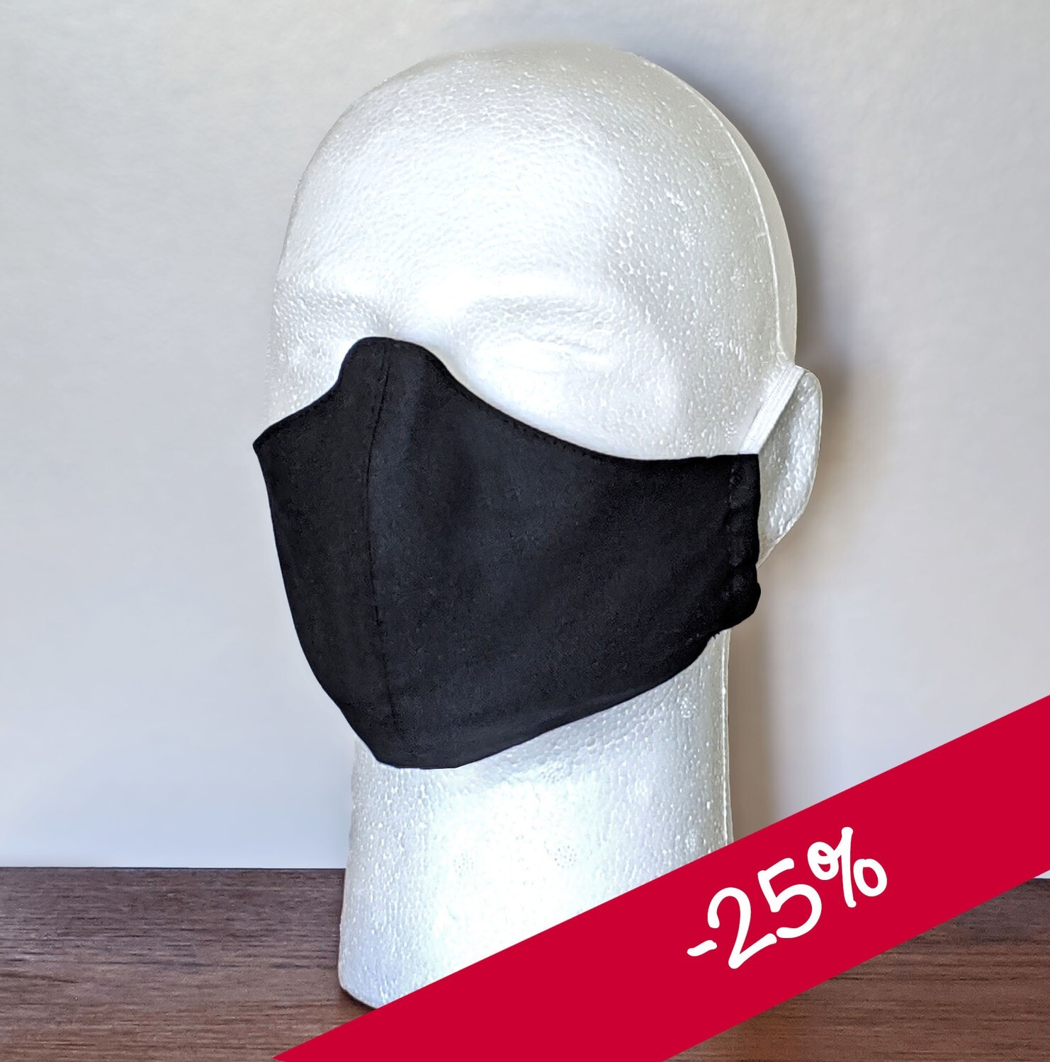 PACK of Basic Black Face Masks, Unisex, Washable, Reusable, Double Layer for Smog, Pollen, Dust, Smoke. Made in USA