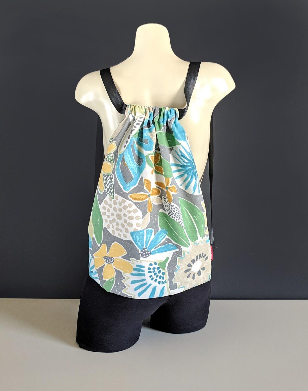 Gray Floral Drawstring Bag