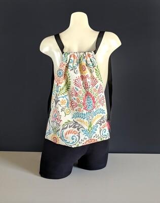 Colorful Mexican Floral Print Drawstring Bag