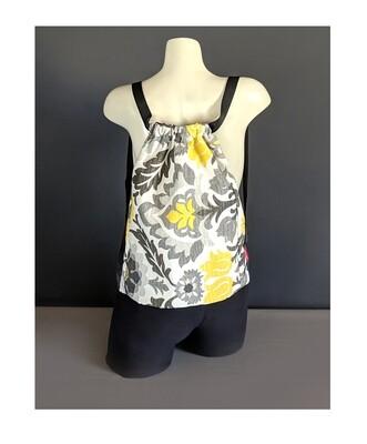 Yellow Floral Print Drawstring Bag