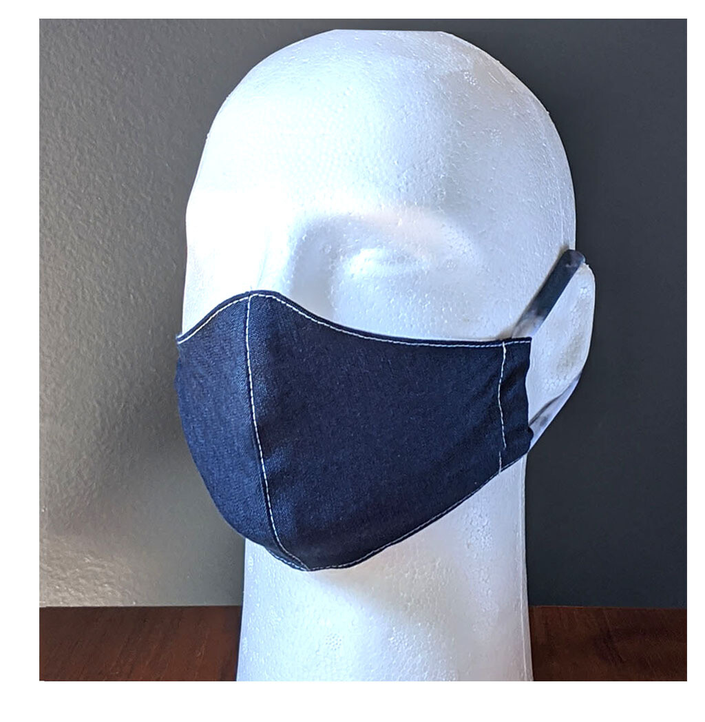 Pack of Dark Denim Navy Blue Face Masks, Small, Unisex, Washable, Reusable, Double Layer for Smog, Pollen, Dust, Smoke. Made in USA
