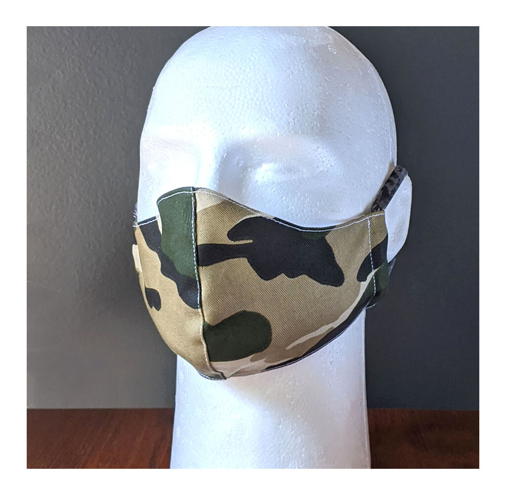 Pack of Camouflage Face Masks, Small, Unisex, Washable, Reusable, Double Layer for Smog, Pollen, Dust, Smoke. Made in USA