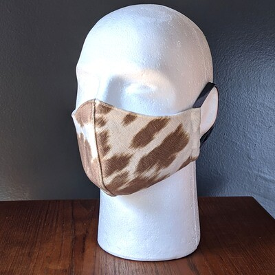 Cow Print Animal Costume Face Masks, Small, Unisex, Washable, Reusable, Double Layer for Smog, Pollen, Dust, Smoke. Made in USA