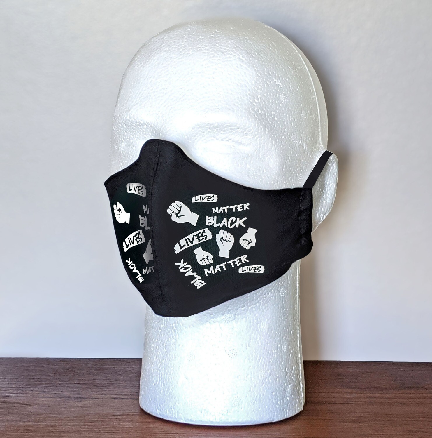 Pack of BLACK LIVES MATTER Face Masks, Unisex, Washable, Reusable, Double Layer for Smog, Pollen, Dust, Smoke. Made in USA
