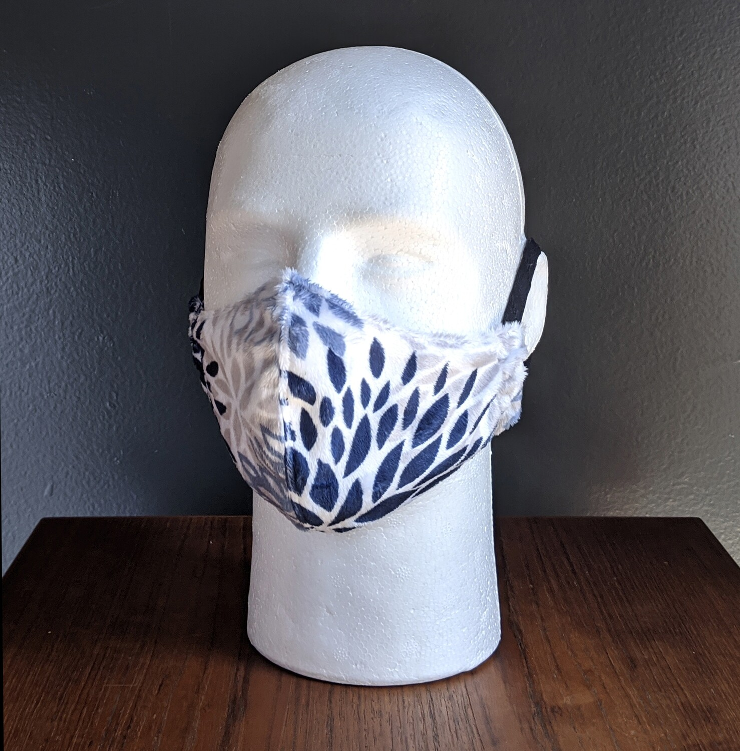 Floral Minky Costume Face Mask, Pride, Mardi Gras, Halloween. Small, Unisex, Reusable, Double Layer for Smog, Pollen, Dust, Smoke. Made in USA