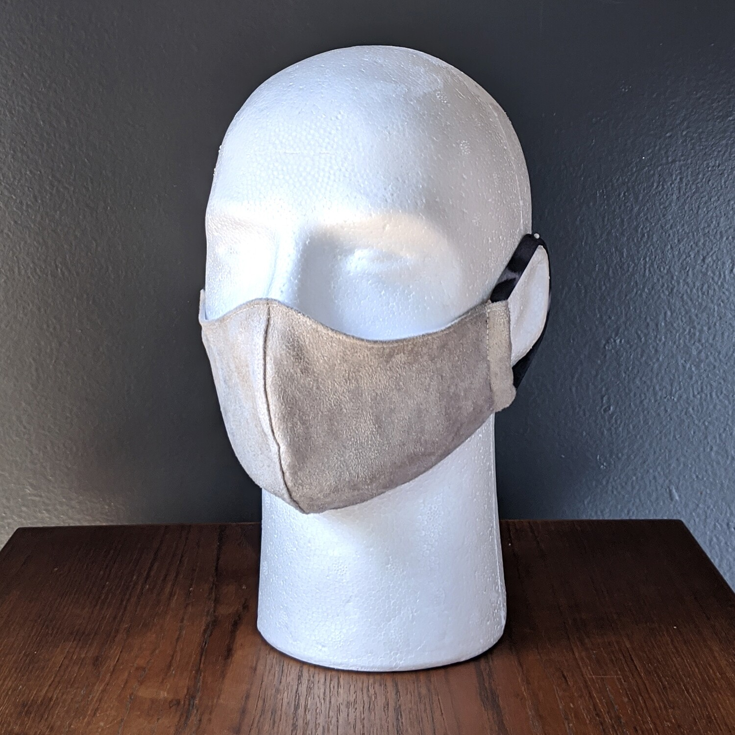 Gray Suede Costume Face Mask, Pride, Mardi Gras, Halloween. Small, Unisex, Reusable, Double Layer for Smog, Pollen, Dust, Smoke. Made in USA
