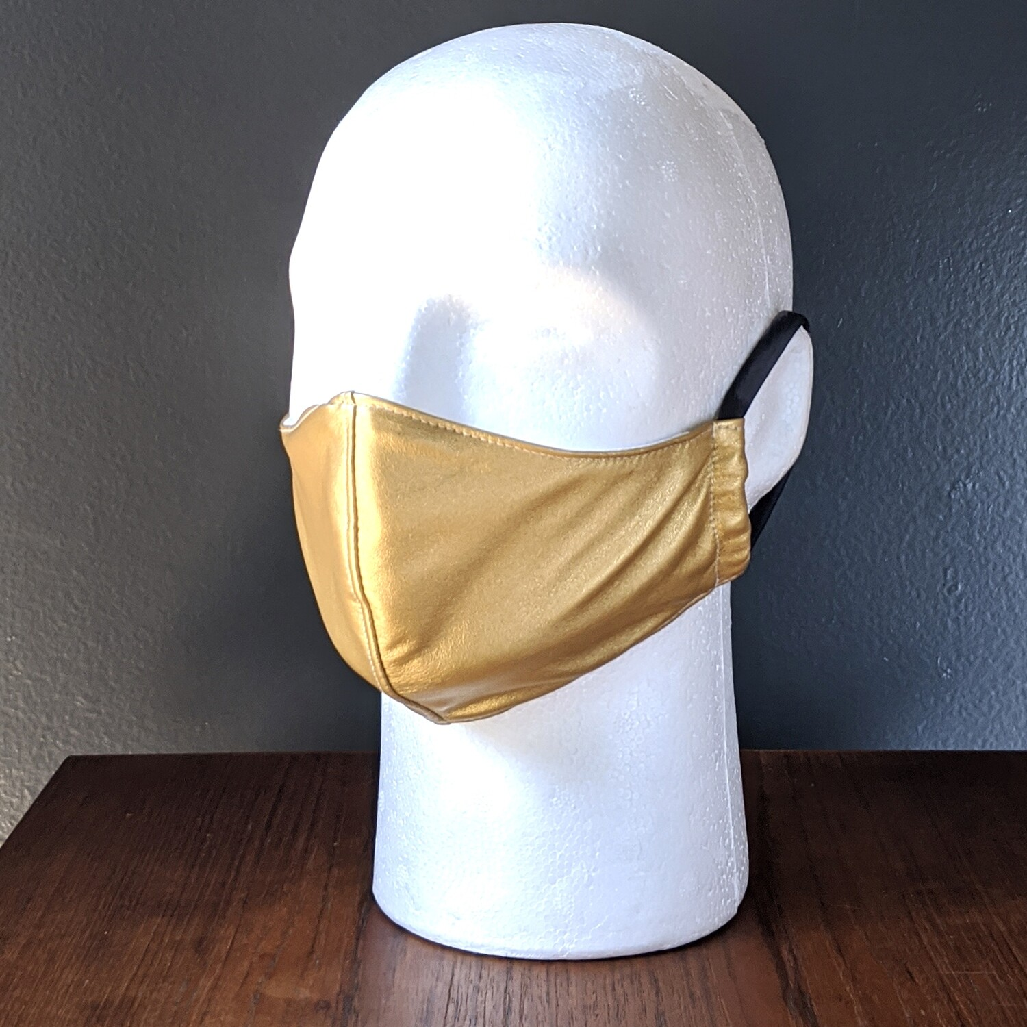 Metallic Gold Costume Face Mask, Pride, Mardi Gras, Halloween. Small, Unisex, Reusable, Double Layer for Smog, Pollen, Dust, Smoke. Made in USA