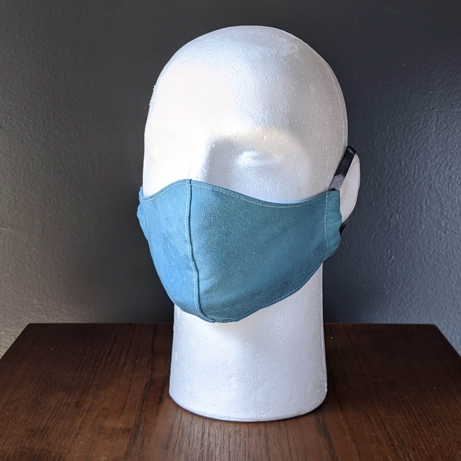 Blue Suede Costume Face Mask, Pride, Mardi Gras, Halloween. Small, Unisex, Reusable, Double Layer for Smog, Pollen, Dust, Smoke. Made in USA