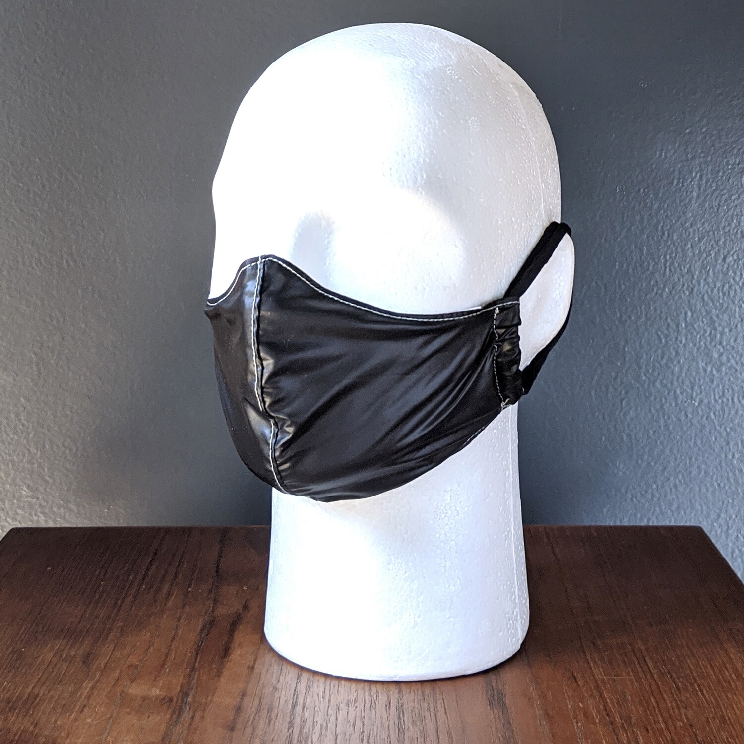 Black Faux Leather Costume Face Mask, Pride, Mardi Gras, Halloween. Small, Unisex, Reusable, Double Layer for Smog, Pollen, Dust, Smoke. Made in USA