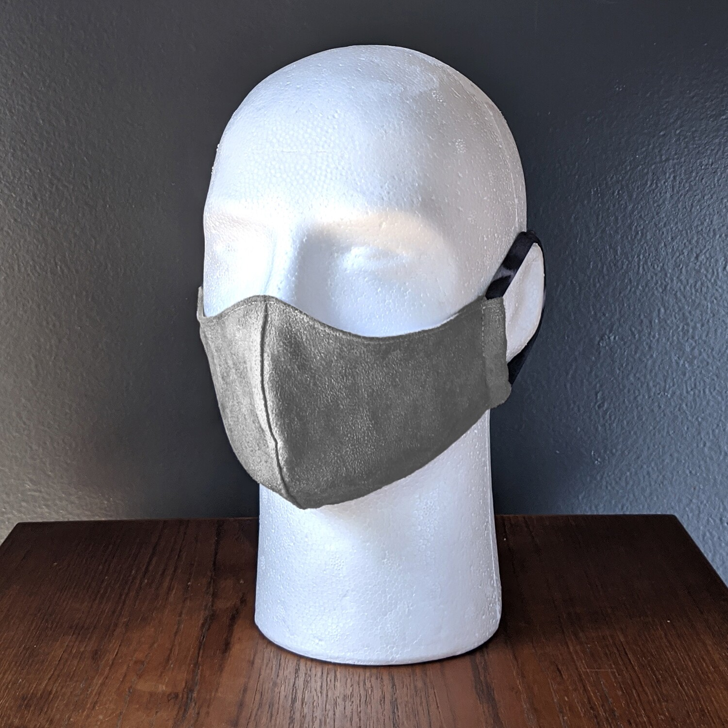 Charocal Gray Suede Costume Face Mask, Pride, Mardi Gras, Halloween. Small, Unisex, Reusable, Double Layer for Smog, Pollen, Dust, Smoke. Made in USA