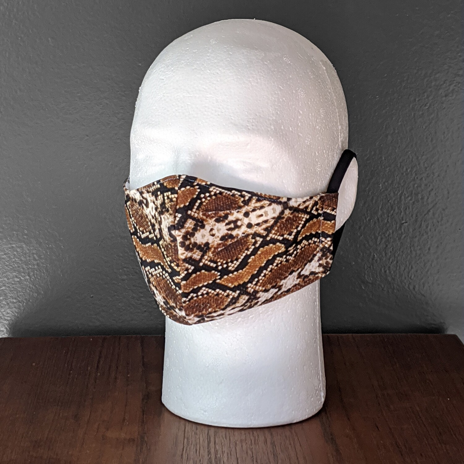 Brown Snakeprint Swimsuit Lycra Face Mask, Small, Unisex, Reusable, Double Layer for Swimming, Beach. Made in USA