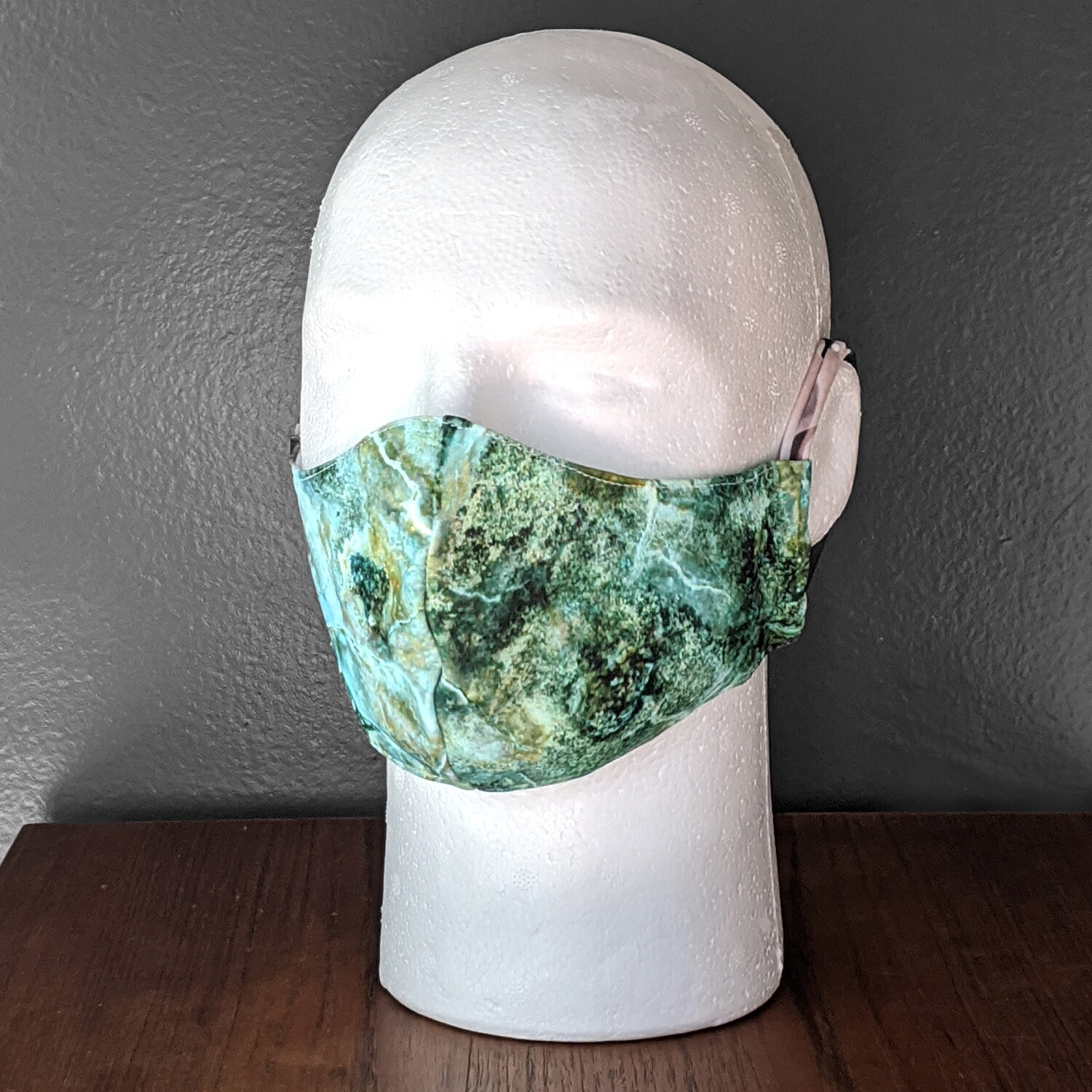 Marble Green Swimsuit Lycra Face Mask, Small, Unisex, Reusable, Double Layer for Swimming, Beach. Made in USA