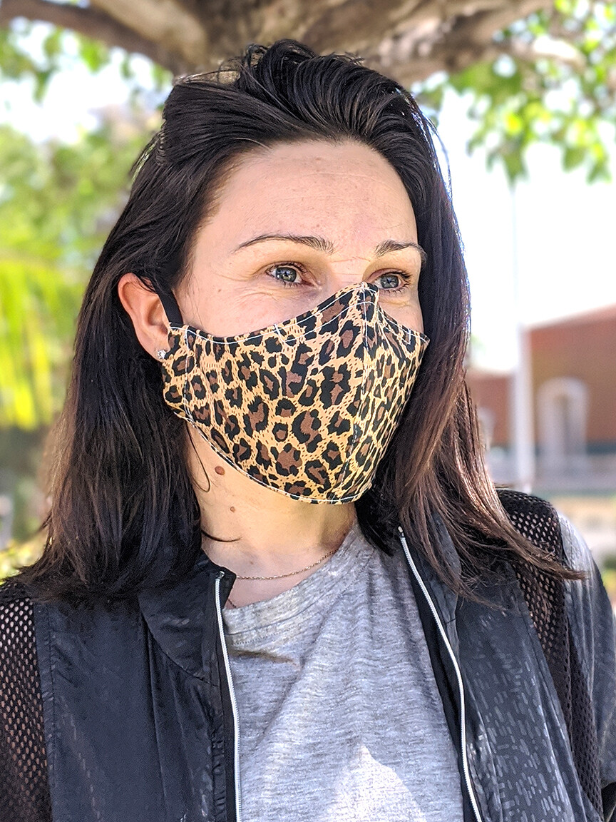 Pack of Brown Leopard Print Face Masks, Unisex, Washable, Reusable, Double Layer for Smog, Pollen, Dust, Smoke. Made in USA