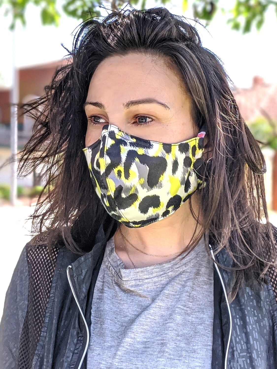 Pack of Neon Yellow Animal, Leopard Print Face Masks, Unisex, Washable, Reusable, Double Layer for Smog, Pollen, Dust, Smoke. HEADBAND
