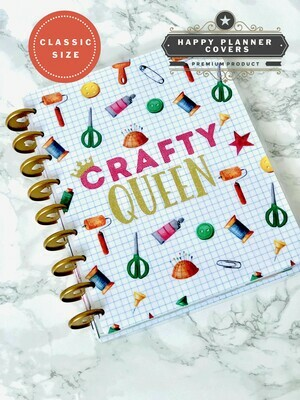 Crafty Queen Happy Planner Cover | Cute Gold Crown Craft Supplies Glitter Graph Classic Size