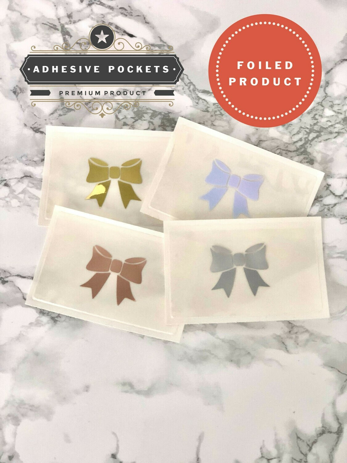 Foiled Bow Adhesive Planner Sticker Pockets| Functional Bujo B6 TN Erin Condren Happy Planner A5 Recollections