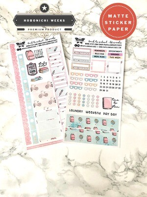 Back to School Weekly Sticker Kit | Planner stickers for Hobonichi Weeks