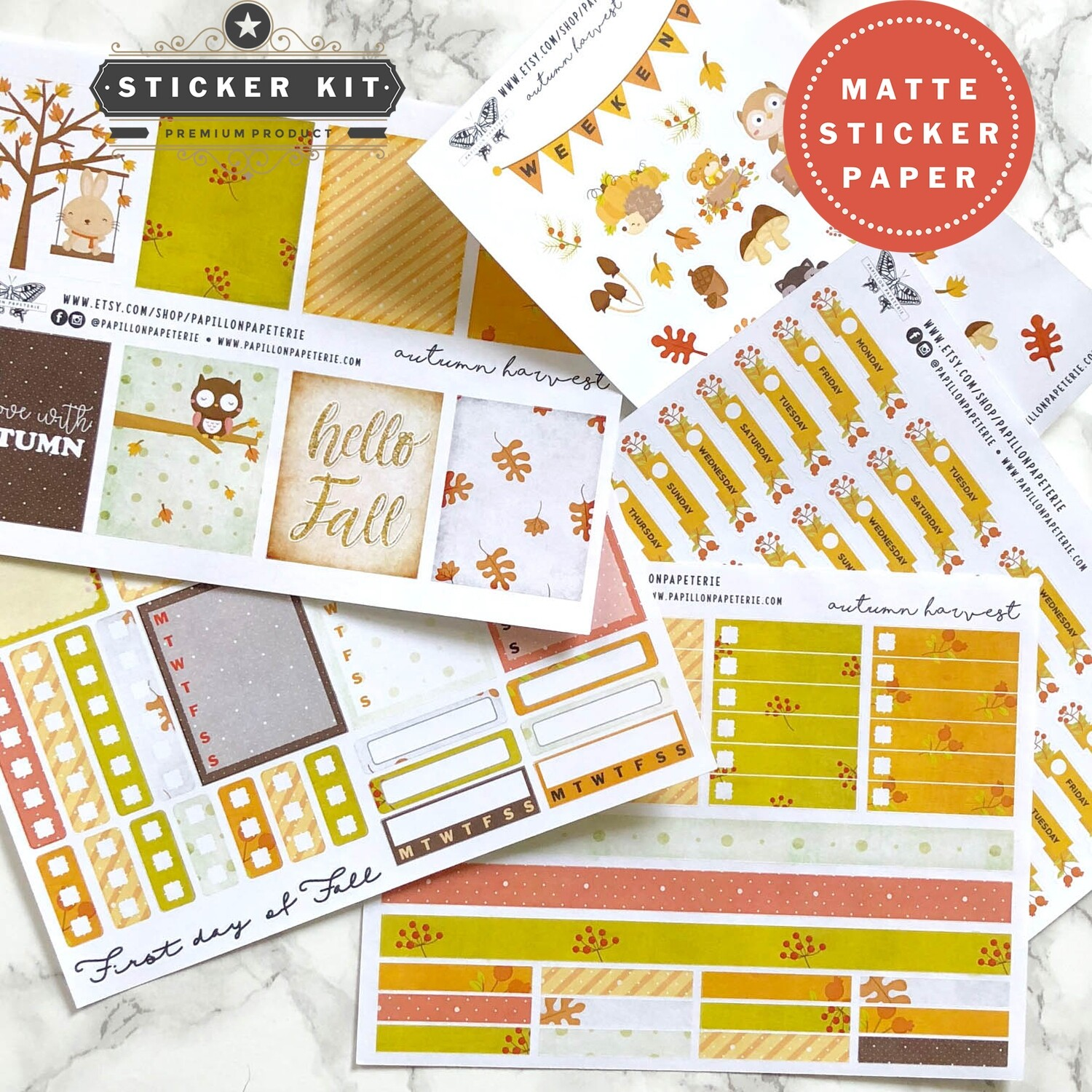 Autumn Harvest Sticker Kit | Functional Planner Stickers Vertical Happy Planner A5 Recollections