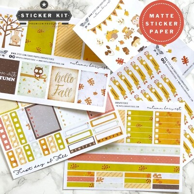 Autumn Harvest Sticker Kit   Functional Planner Stickers Vertical Happy Planner A5 Recollections