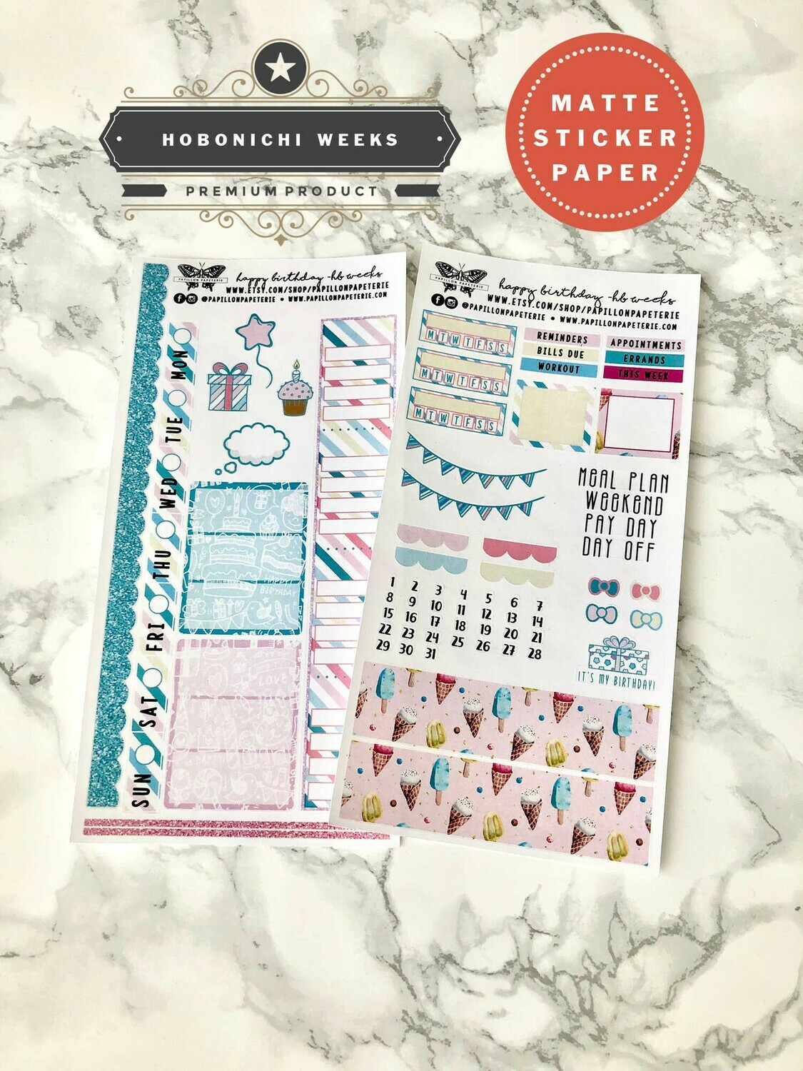 Happy Birthday Weekly Sticker Kit | Planner stickers for Hobonichi Weeks