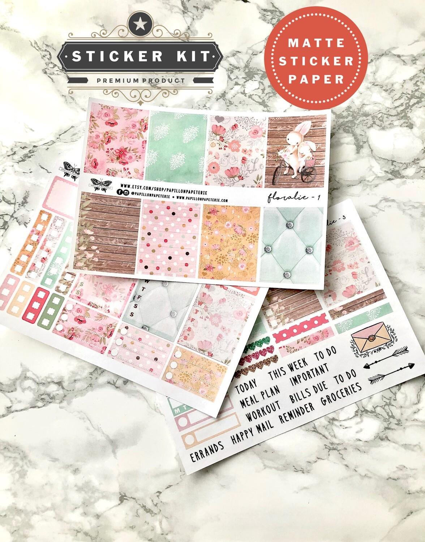 Floralie Spring Kit | Functional Spring Rabbit Pastel Planner stickers Vertical Happy Planner A5