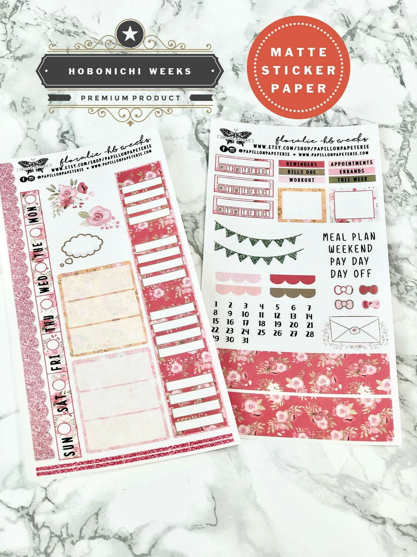 Floralie Weekly Sticker Kit | Planner stickers for Hobonichi Weeks