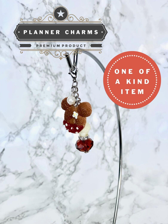 Dippin Donut Planner Charm | Kawaii Cute Silver Rose Pearl Traveler's Notebook Erin Condren
