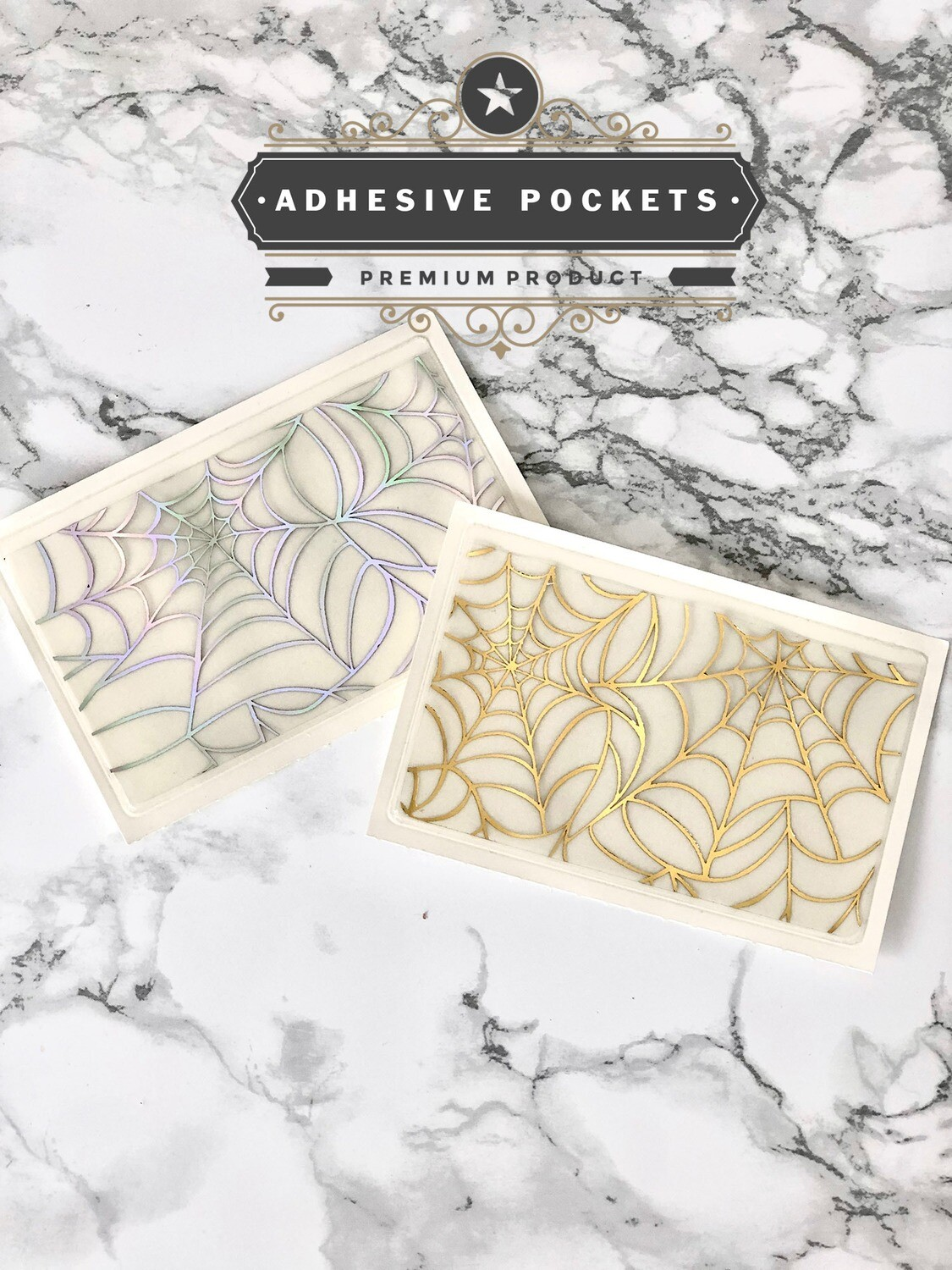 Foiled Cobweb Adhesive Planner Sticker Pockets| Gold Holographic Functional Bujo TN Happy Planner A5
