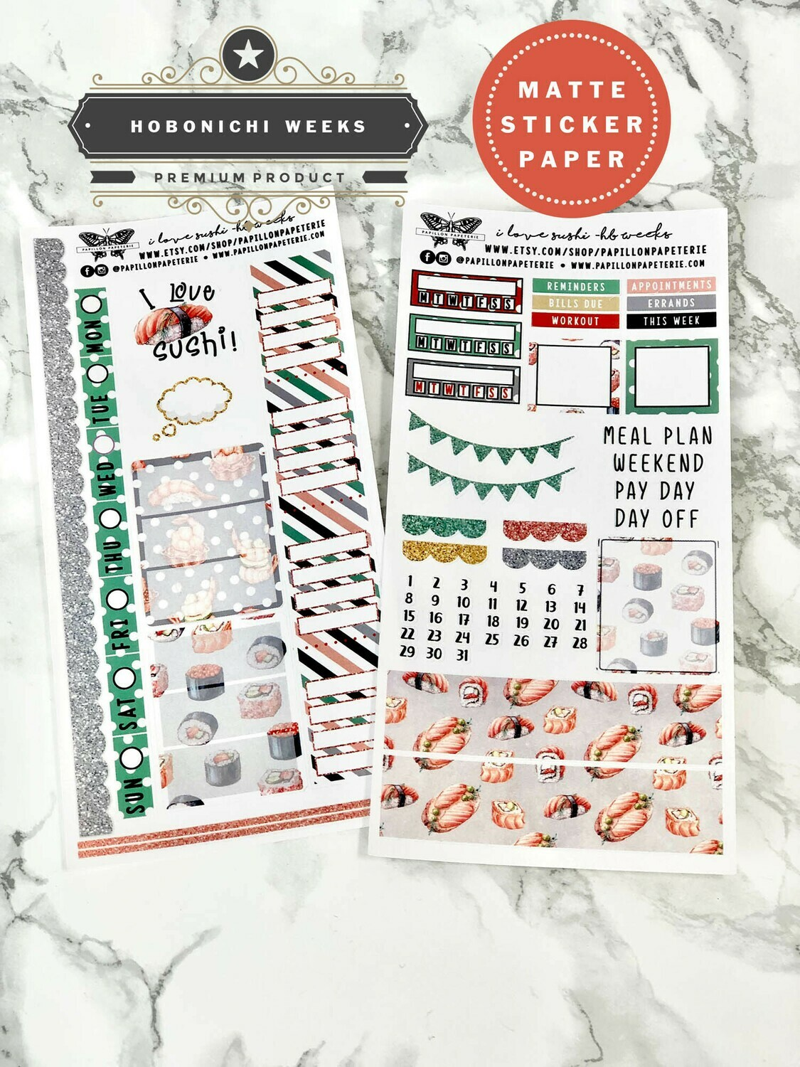 I Love Sushi Weekly Sticker Kit   Planner stickers for Hobonichi Weeks