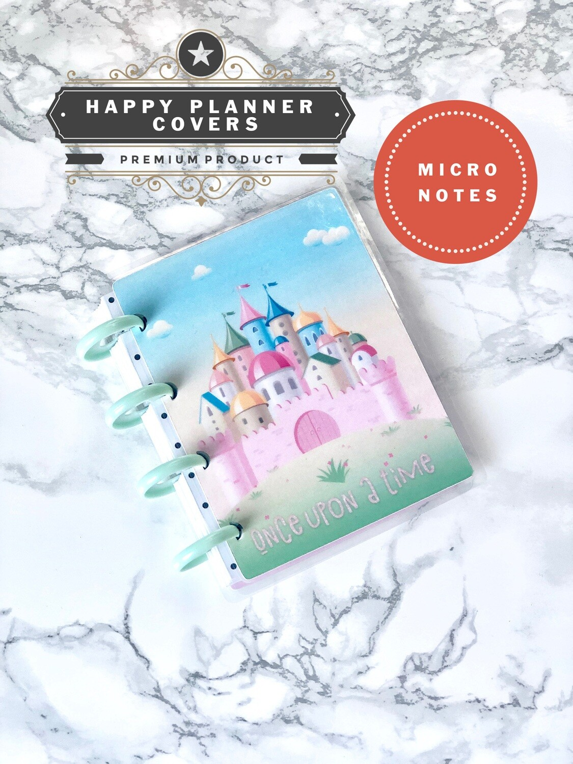 Once Upon A Time Happy Planner Micro Notes Cover | Cute Ombre Castle Glitter Pastel