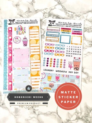 That Boba Life Weekly Sticker Kit | Planner stickers for Hobonichi Weeks