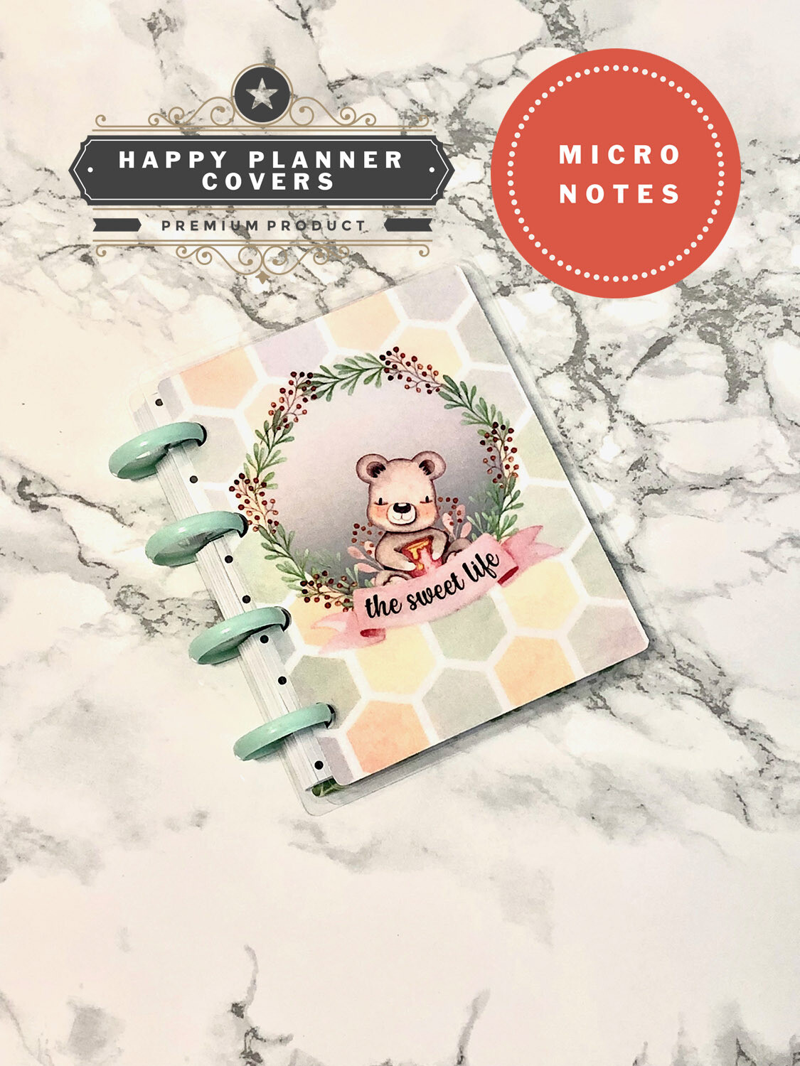 The Sweet Life Happy Planner Micro Notes Cover   Cute Bear Watercolour Script