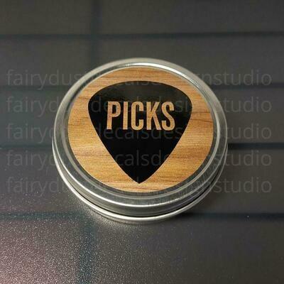 Guitar Pick Holder, round metal tin