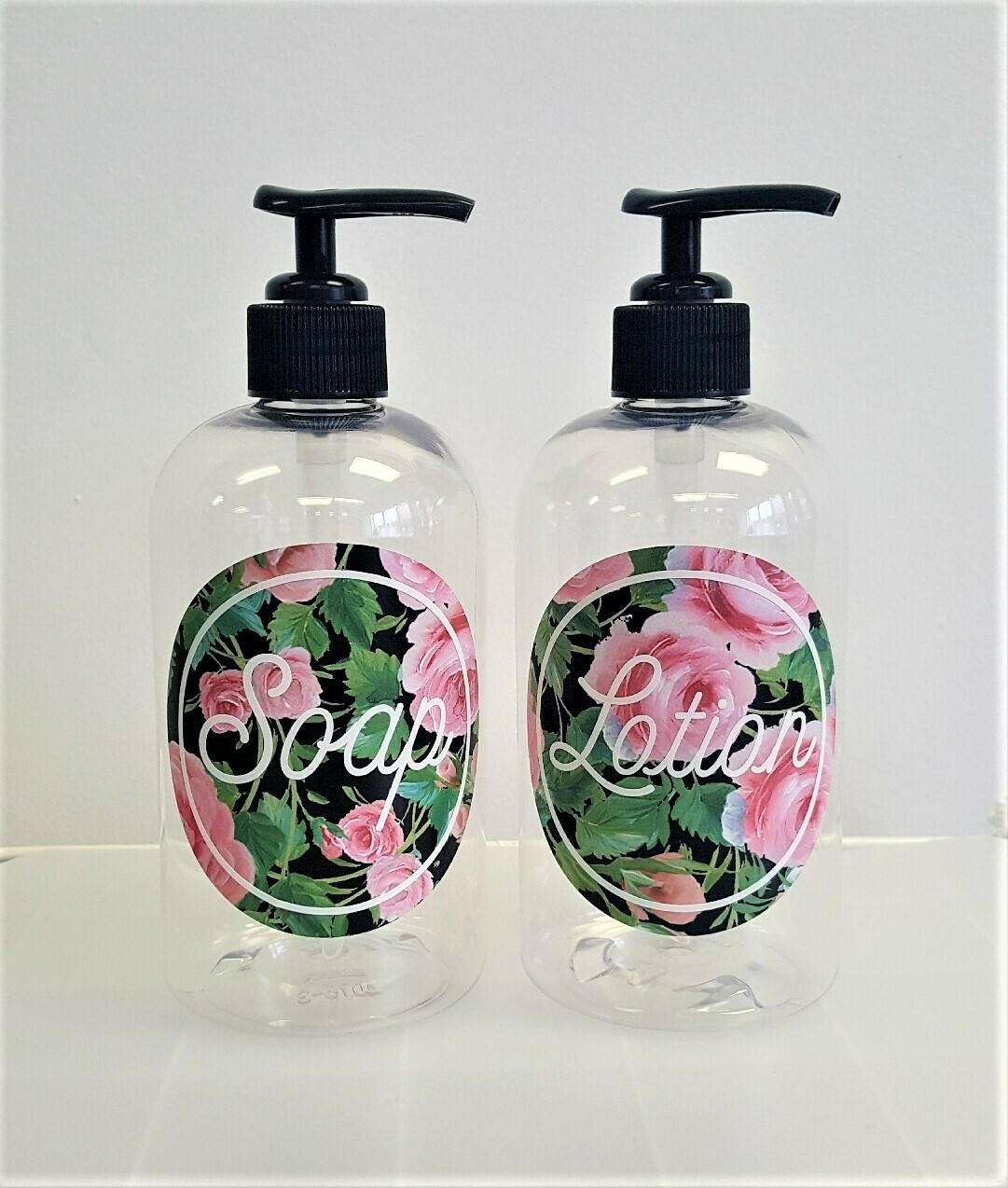 Hand Soap & Hand Lotion Bottle Set - pink rose design