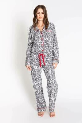 PJ Salvage Chelsea Leopard Soft Cotton Twill Pajama PJ Set   Size  XL