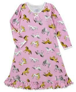 Saras Prints Super Soft Pajama Pink Horses Nightgown