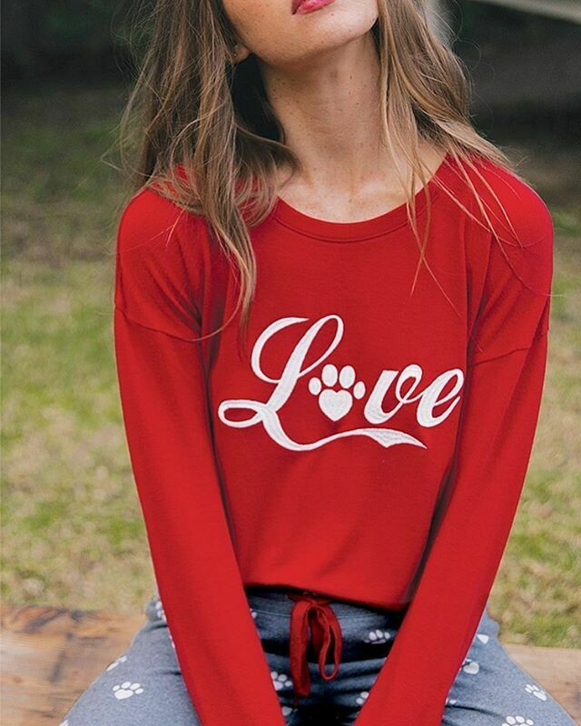 PJ Salvage Red Love Super Soft Long Sleeve Lounge Shirt Size L and XL