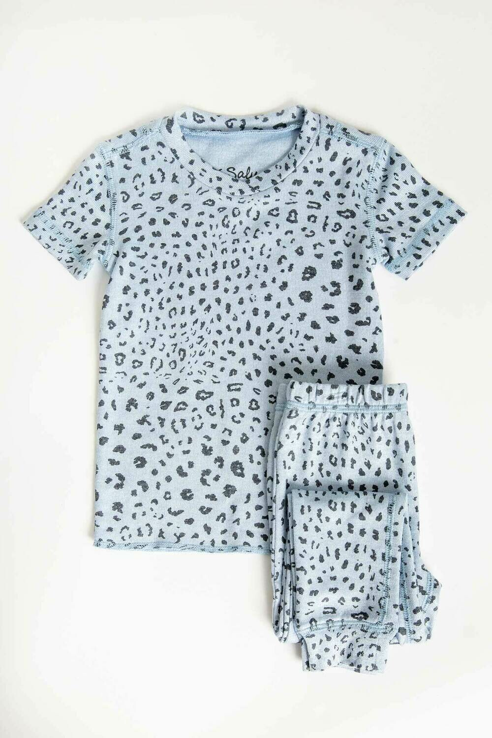 PJ Salvage Childrens Blue Leopard Children's Pajama Set Size 2 - 6