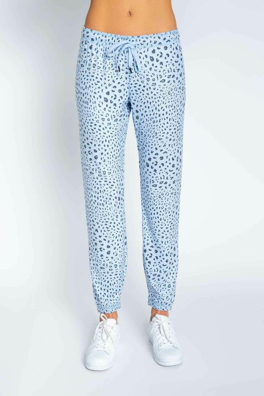PJ Salvage Womens Blue Leopard PJ Loungewear Jogger Pants Size:  XS, M, L, XL
