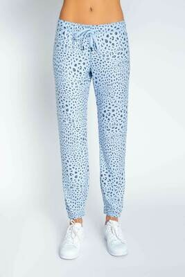 PJ Salvage Womens Blue Leopard PJ Loungewear Jogger Pants Size:  XS, M, L, XL