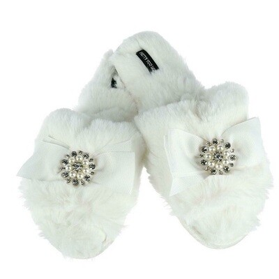 Women's White Slide Rhinestone Luxe Slipper -Size 6.5/7.5