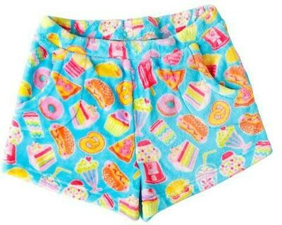 Aqua Blue Junk Food Fleece Shorts Size 10/12, 14/16